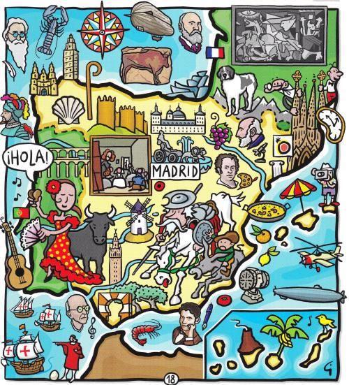 Mapas e imágenes relacionados con la cultura española, con C y con c