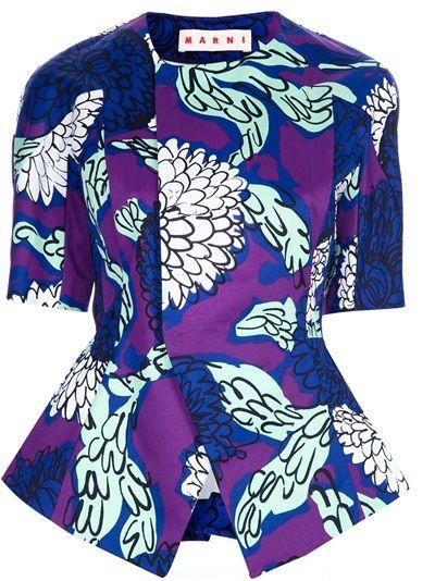Marni Printed Peplum Waist Jacket - creative peplum