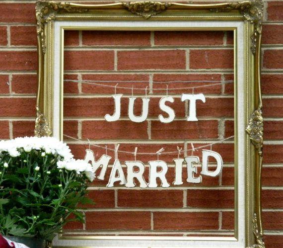 wedding garland wedding banner just married wood by modern101