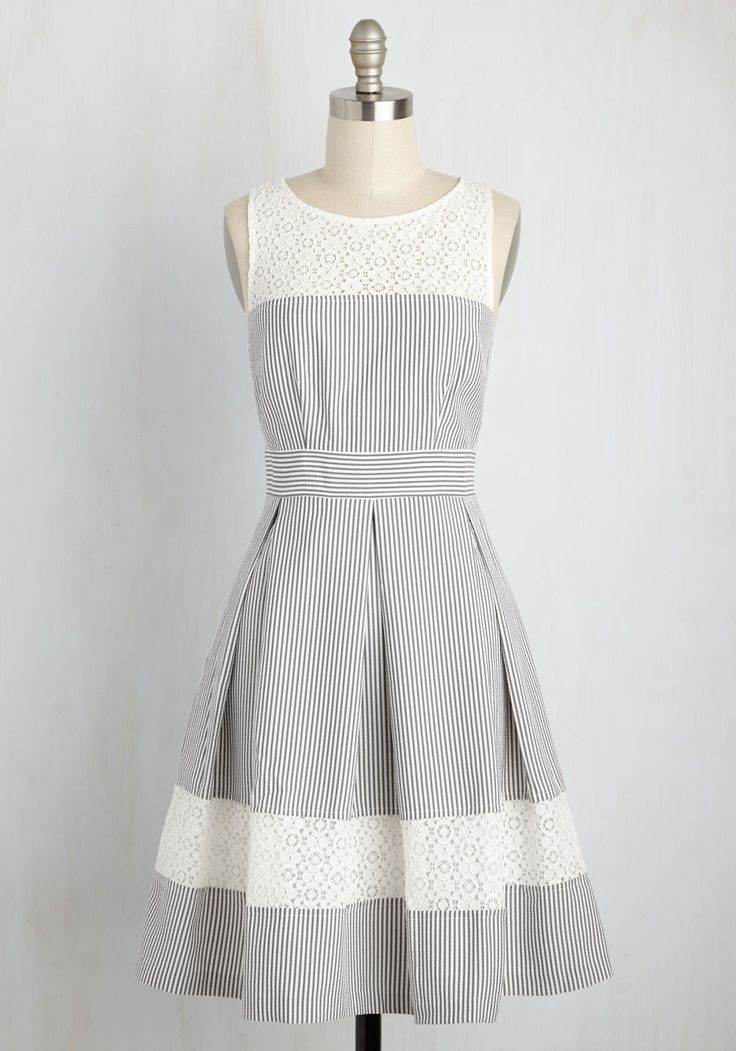 Coast Likely to Succeed Dress. Your classmates adored your fashion sense, and with this grey and white dress, you show that your style prowess hasnt changed one bit! #grey #modcloth