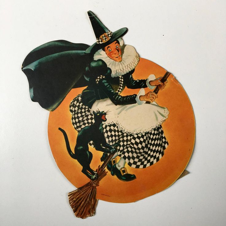 Two vintage Halloween die cuts~witch on broom & JOL~ table top decorations marked Litho in USA~ 1960s decor from MilkweedVintageHome by MilkweedVintageHome on Etsy