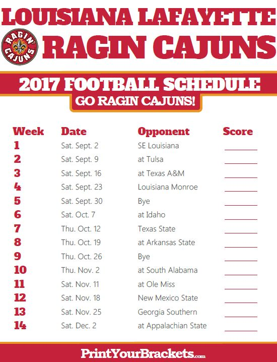 2017 Louisiana Lafayette Ragin Cajuns Football Schedule