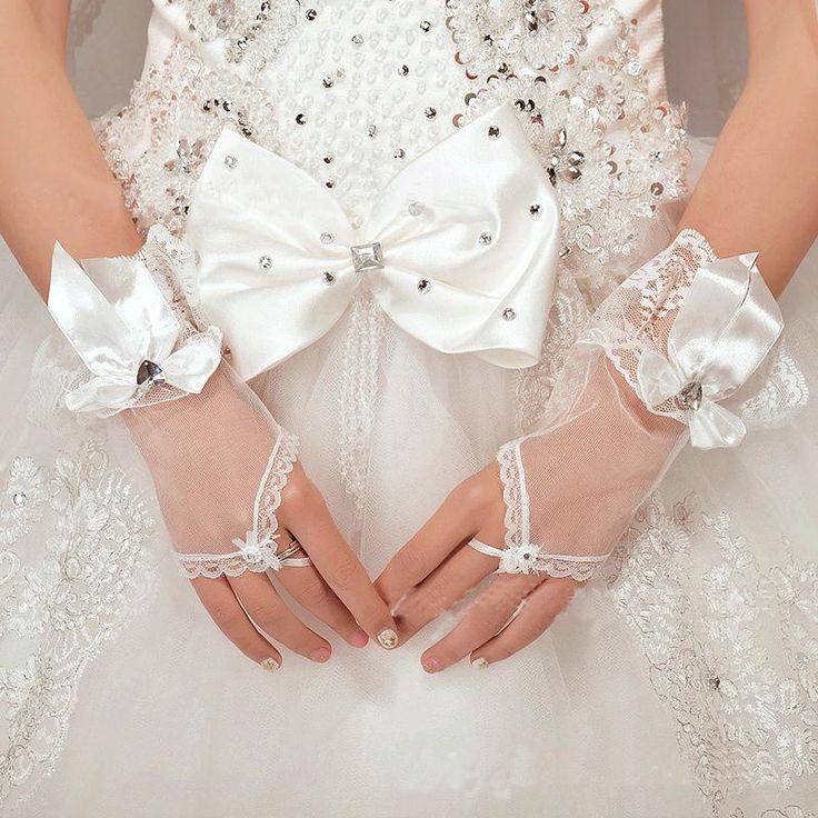 Venda Quente Vestido Curto Luvas Brancas Do Laço Luvas Sem Dedos De Casamento…