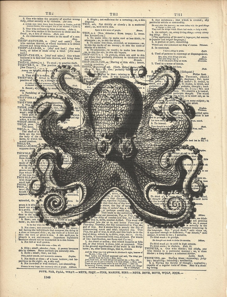 Octopus Print On Vintage Dictionary Page  No. 2. $10.00, via Etsy.