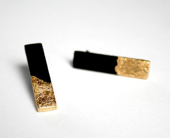 Black and gold  Hand painted stud sticks earrings by vickygonart. #inspiration Seems like you should be able to do this pretty easily yourself.