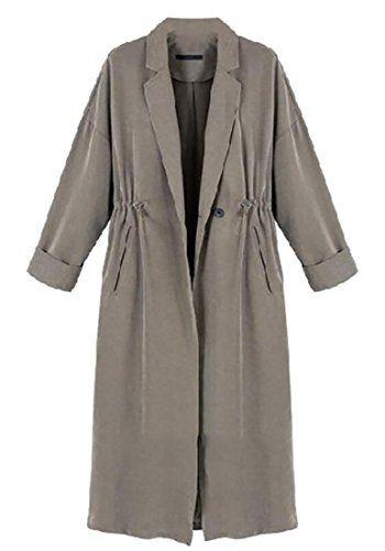 ainr women Open Front Drawstring Waist Long Trench Coat Jacket Outwear Grey  S