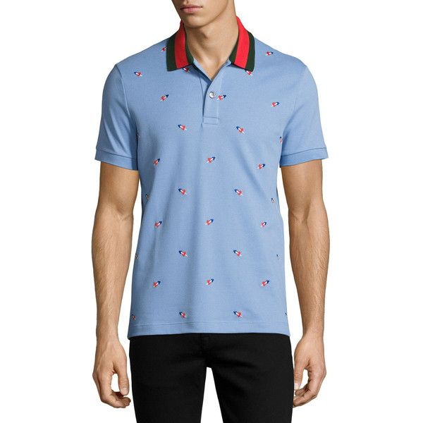 Gucci Cotton Pique Polo with Pierced Hearts ($670) ❤ liked on Polyvore featuring men's fashion, men's clothing, men's shirts, men's polos, blue, mens polo collar shirts, mens blue button down shirt, mens collared shirt, mens button shirts and mens polo shirts