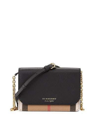 Burberry Hampshire Check Leather Wallet On A Chain e4d144cd49a28