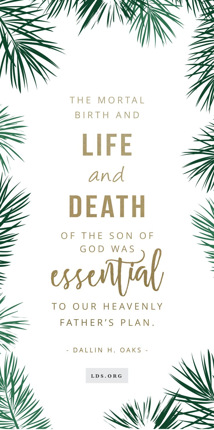 The mortal birth and life and death of the Son of God was essential to our Heavenly Father's plan. —Dallin H. Oaks #LDS #Christmas