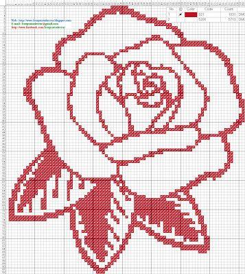 Dibujos Punto de Cruz Gratis: Rosa roja - Patron punto de cruz
