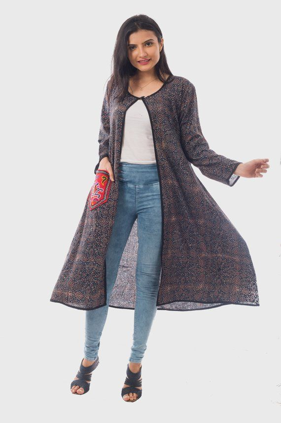 8c973d5608 Indian Fashion Long Jacket With Embroidered Pocket - Ajrakh Fabric Jacket  Fo Girls - Summer Wear Long Coat - Women's Jacket With Pocket #PartyWear ...