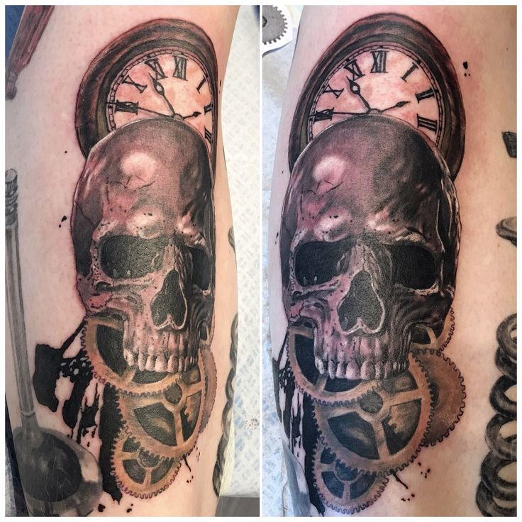 Skull, gears and clock