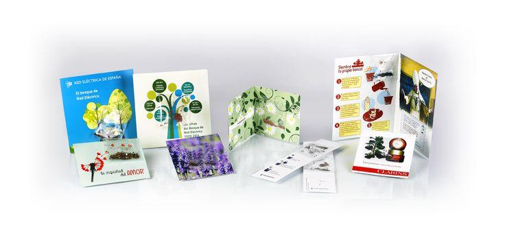 ¡Dipticos, tripticos y mucho más con semillas incorporadas! #Semillas #Ecofriendly #Tarjetas