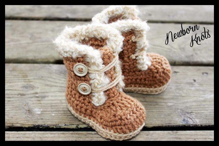 Fur Trim Baby ... by newbornknots | Crocheting Pattern - Looking for a crocheting pattern for your next project? Look no further than Fur Trim Baby Booties. #15 from newbornknots! - via @Craftsy