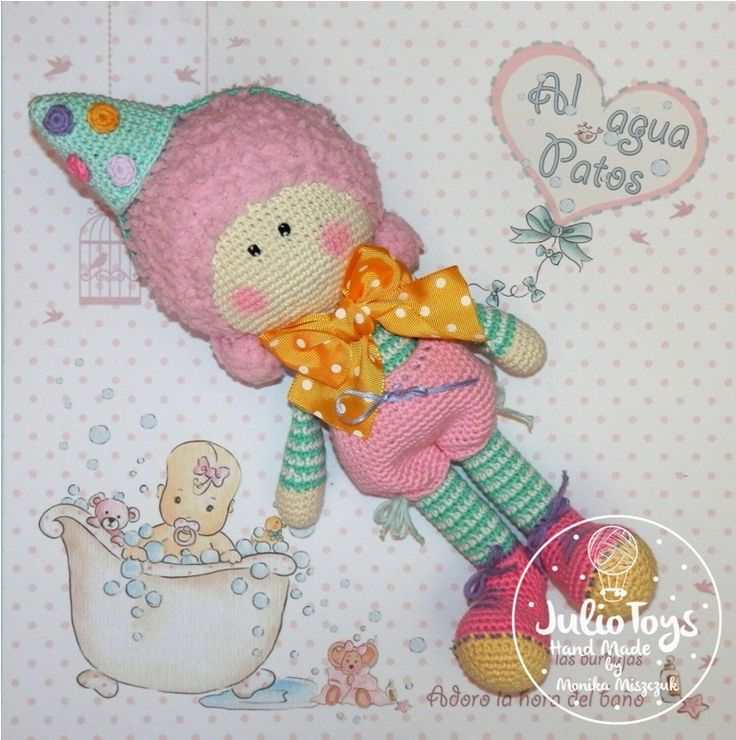Clown Alice crochet doll - PDF pattern. https://www.etsy.com/listing/294169123/alice-crochet-doll-pdf-pattern?ref=shop_home_active_3
