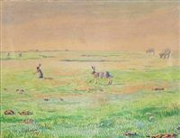 Field landscape hares and cows by Johannes Larsen