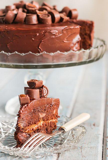 Rolo Chocolate Brownie Cake by raspberri cupcakes, via Flickr  OH MY GOD!