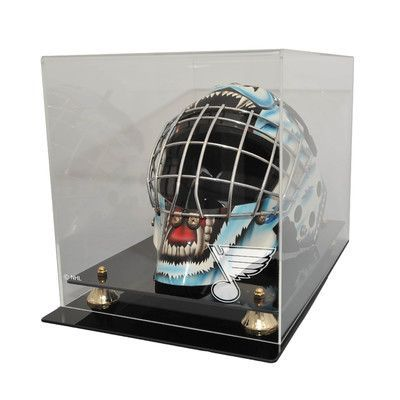 Caseworks International NHL Goalie Mask Display Case with Gold Risers NHL Team: St. Louis Blues, UV Protection: Yes