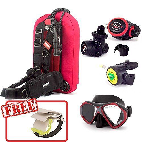 SOPRAS SUB DIVE MASTER PACKAGE RED LITE DIVE MASTER PACKAGE Comes with: BCD COMPACT LITE RED 14L Lightweight, Travel BCD – Only 5.75 lbs Side pockets, trim weight pockets in the back Bungy system on the plastic shoulder buckles will increase the safety of your dives. Ionized Aluminum...