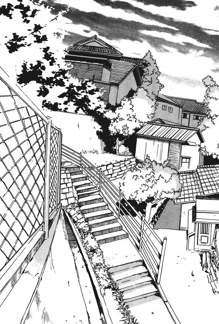 Manga Backdrop Background Textures.  Urban Sketch Foreground.
