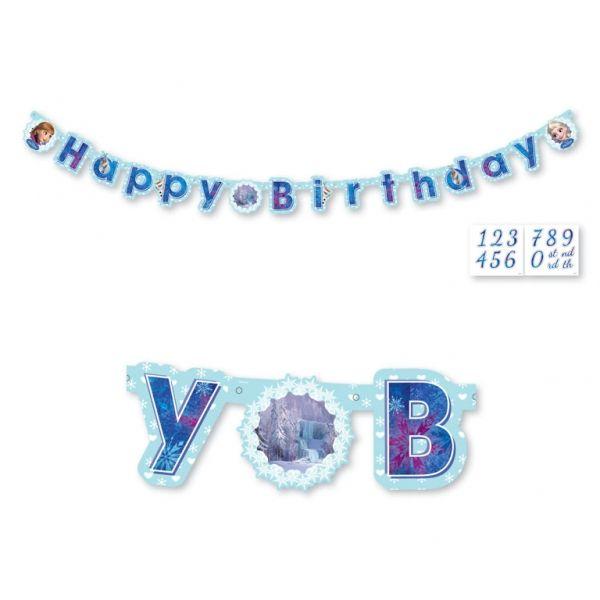 Frozen narozeniny nápis s číslem k nalepení 180cm x 15cm | BALONKY .CZ