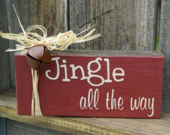 Merry Christmas Wood Block Mantle Decor Holiday by CraftsByJoyice