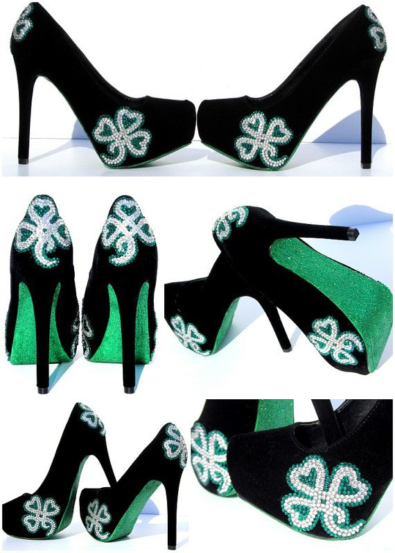St. Patrick's Day or Irish Wedding Heels with Shamrocks in Swarovski Crystal and Emerald Green Soles on Etsy, $150.00