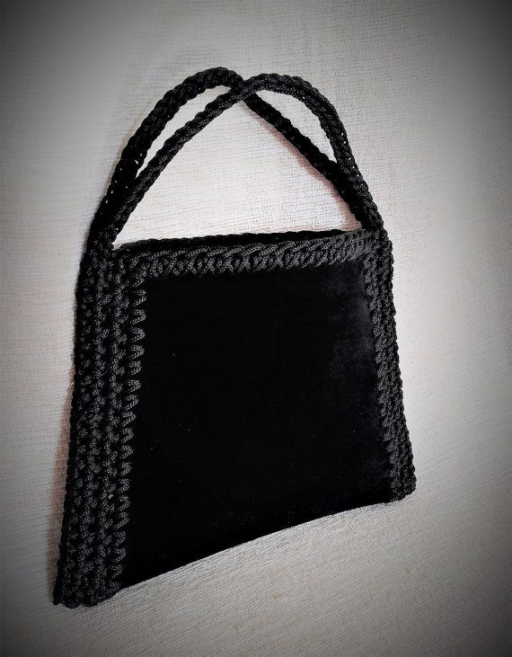 Black suede bag Black leather bag Black evening by MariliartbyM