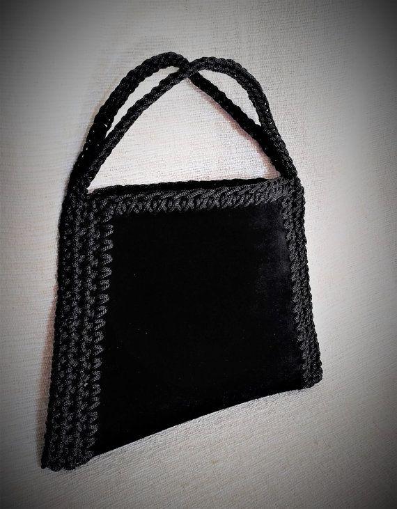 Black suede bag Black leather bag Black evening by MariliartbyM