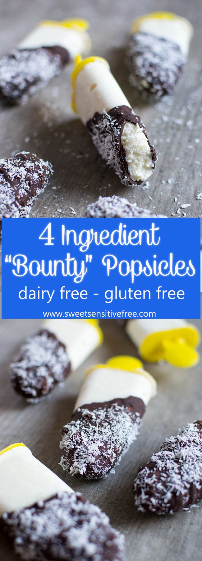 4 Ingredients Easy Homemade Bounty Popsicles with Coconut Yogurt, naturally dairy free and perfect for the hot summer days