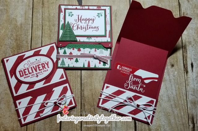 Super Cute and Easy Gift Card to  make!  http://www.fosteringcreativitytogether.com/2017/12/envelope-punch-board-gift-card-holder.html
