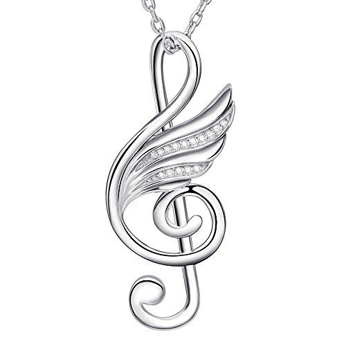 524f2f857ab690 $25.99 925 Sterling Silver music note and angel wings pendant charms  necklace long chain gift for women
