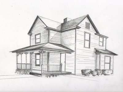 A two point perspective of the outside of a building for Minimalist house sketch