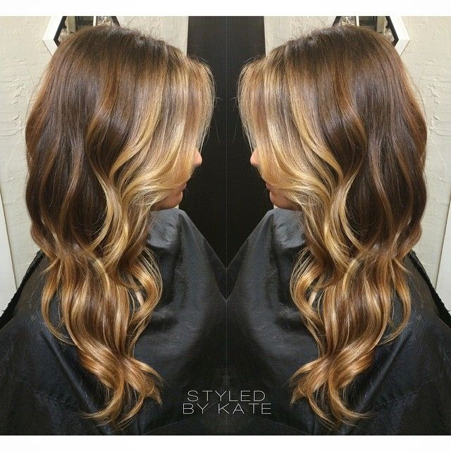 Golden blonde balayage highlights over a rich medium brown base. Perfect winter hair mixed with a touch of summer. :) Instagram: #Styledbykate