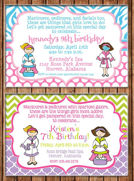 Best Spa Party Invitation Images On Pinterest Pajamas Cards - Invitation birthday party girl