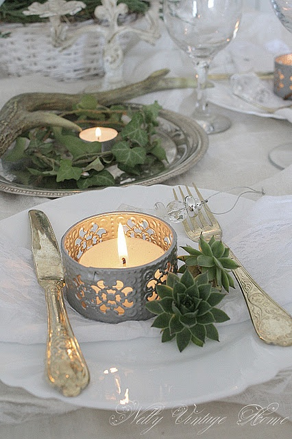 Christmas use silver tray...deer antler small and votive with greens and cones. simple