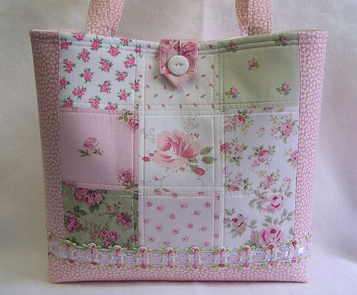 .pretty pink patchwork bag