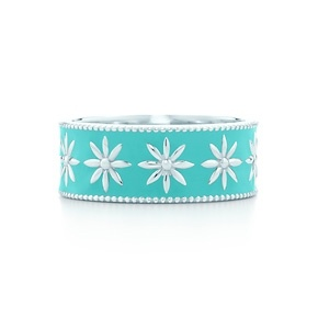 Lusting after this Tiffany & Co.  Daisy band ring in silver with Tiffany Blue® enamel finish.