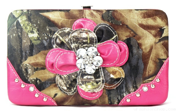 Western Pink Camouflage Flower Wallet Only $20. #camo #country #popular #fashion #purse #3d #bling #womens #style
