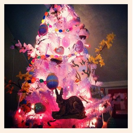 I have a 'Holiday Tree' for just about every holiday...A German 'feather' tree with all my vintage Easter ornaments, toys & Easter egg collection (oldest one is Victorian) this year PINK lights...*Happy Easter*