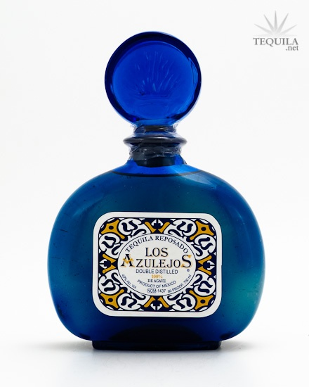 Los Azulejos Tequila Reposado. Good Tequila in a handcrafted bottle.