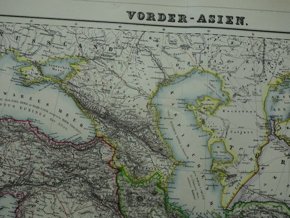 BIG 1874 antique map of Persia  beautiful old by VintageOldMaps