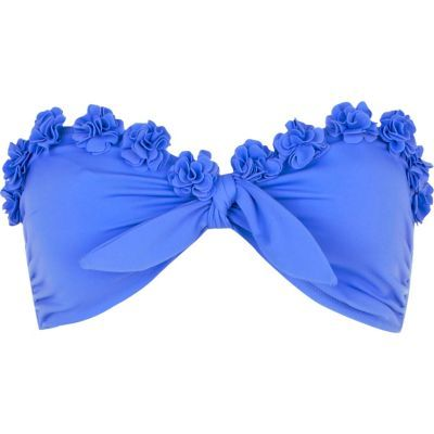 blue flower bandeau bikini top - bikinis