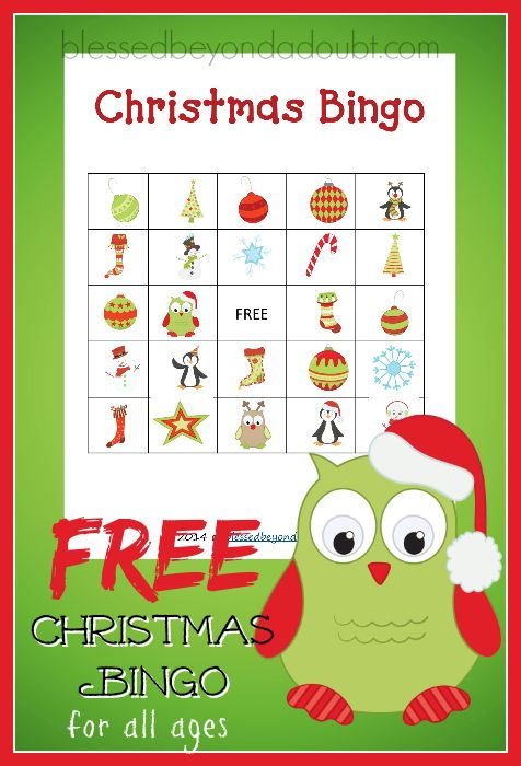 Super FUN free printable Christmas bingo cards! Fun for the family or gathering.
