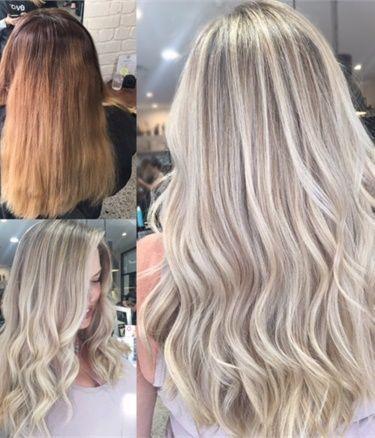 Farbkorrektur: fleckig blond bis reizend violette …
