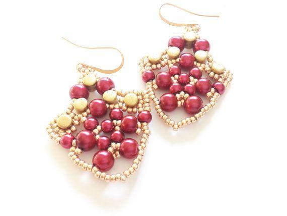 red purple earrings handmade earrings beadwoven red