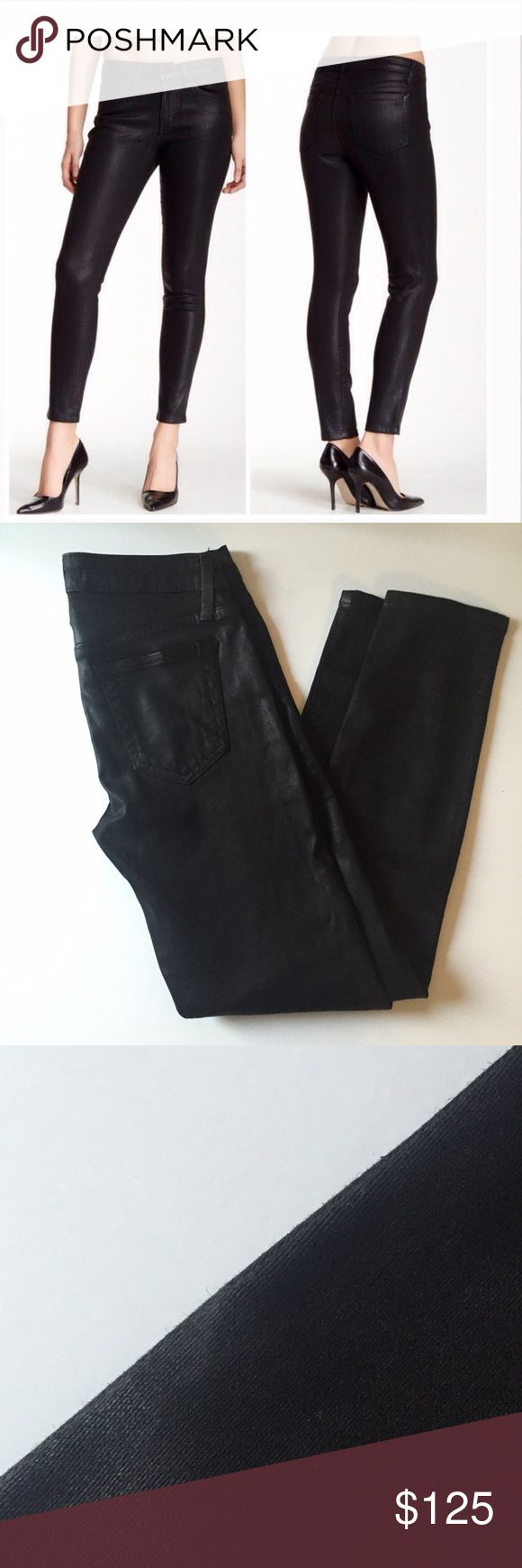 """Joe's jeans wax coated """"the skinny ankle"""" Amazing jeans!   Great condition.  One small lighter spot as shown on side seam (unnoticeable). Fits TTS.  27"""" inseam, 8.5"""" rise, 14.5"""" waist.   No trades. Reasonable offers welcome Note: 20% off bundles of 2+ items in my closet! Joe's Jeans Jeans"""