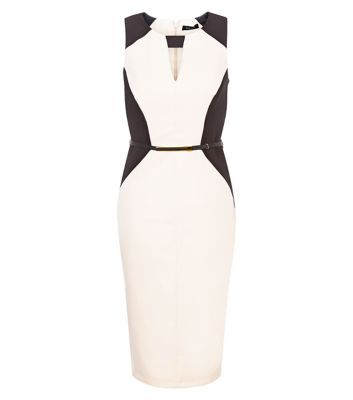 "For a sophisticated feel on nights out wear this belted pencil dress with ankle strap heels and a light pink lip to complement.- Cut out front- Sleeveless design- Belted waist- Zip back fastening- Split back- Slim fit- Midi length- Model is 5'8""/176cm and wears UK 10/EU 38/US 6"