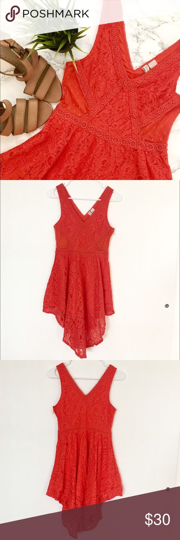 ☀️Lace and Crochet Boho Handkerchief Style Dress EUC no flaws beautiful boho lace and crochet embroidered dress! Size 6. Swingy handkerchief style skirt. Waist-defining style. Has sheer cut outs at the waist. V-neck front and back. Gorgeous bright red-orange color! Great for spring and summer! ☀️ Please feel free to ask any questions before purchasing. I am happy to provide measurements/photos upon request! 😊  ❣️Open to Offers ❣️No Trades or Holds ❣️Smoke Free Home ❣️Bundle Discounts! 15%…