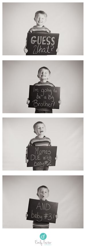 Twins pregnancy announcement.  Big brother announcement.
